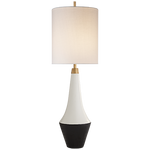 Neale Table Lamp in White Leather and Satin Black with Cream Linen Shade