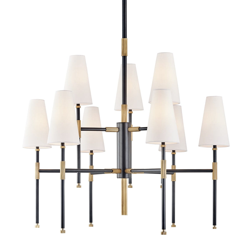 Hudson Valley Bowery 9 lt Chandelier Aged Brass - Decolight Ltd