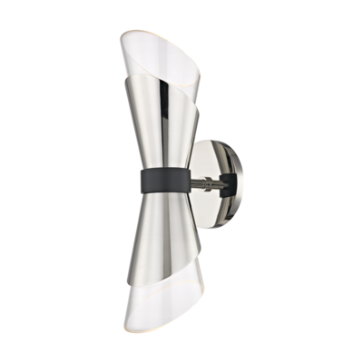 Mitzi Lighting Angie Polished Nickel/Black Wall Light - Decolight Ltd