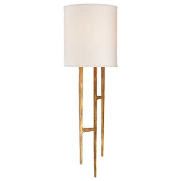 Vail Sconce in Gilded Iron with Natural Paper Shade - Decolight Ltd