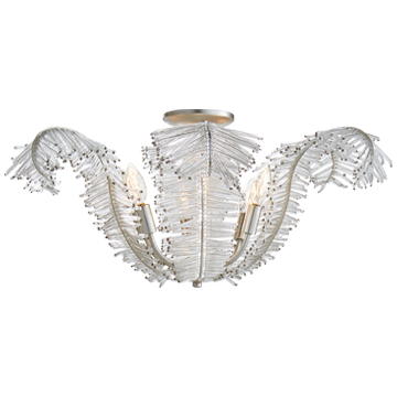 Visual Comfort Calais Large Semi Flush Ceiling Light Silver Leaf - Decolight Ltd