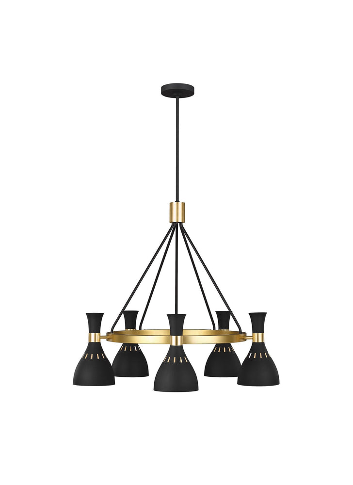 Decolight Noelle Mid Century Chandelier Black & Brass 5 Lt ( Ceiling) - Decolight Ltd