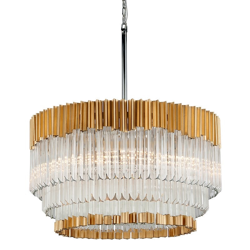 Corbett Lighting Charisma Gold Silver Leaf with Polished Stainless Ceiling Light