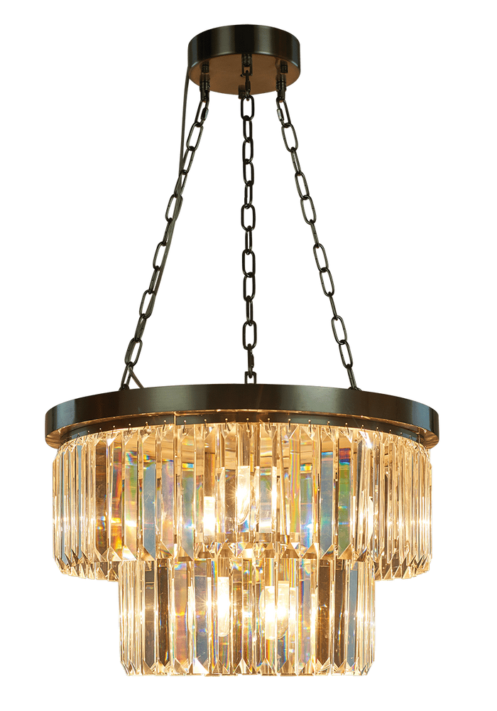 Decolight Round Double Tier Bronze Small Crystalline Chandelier
