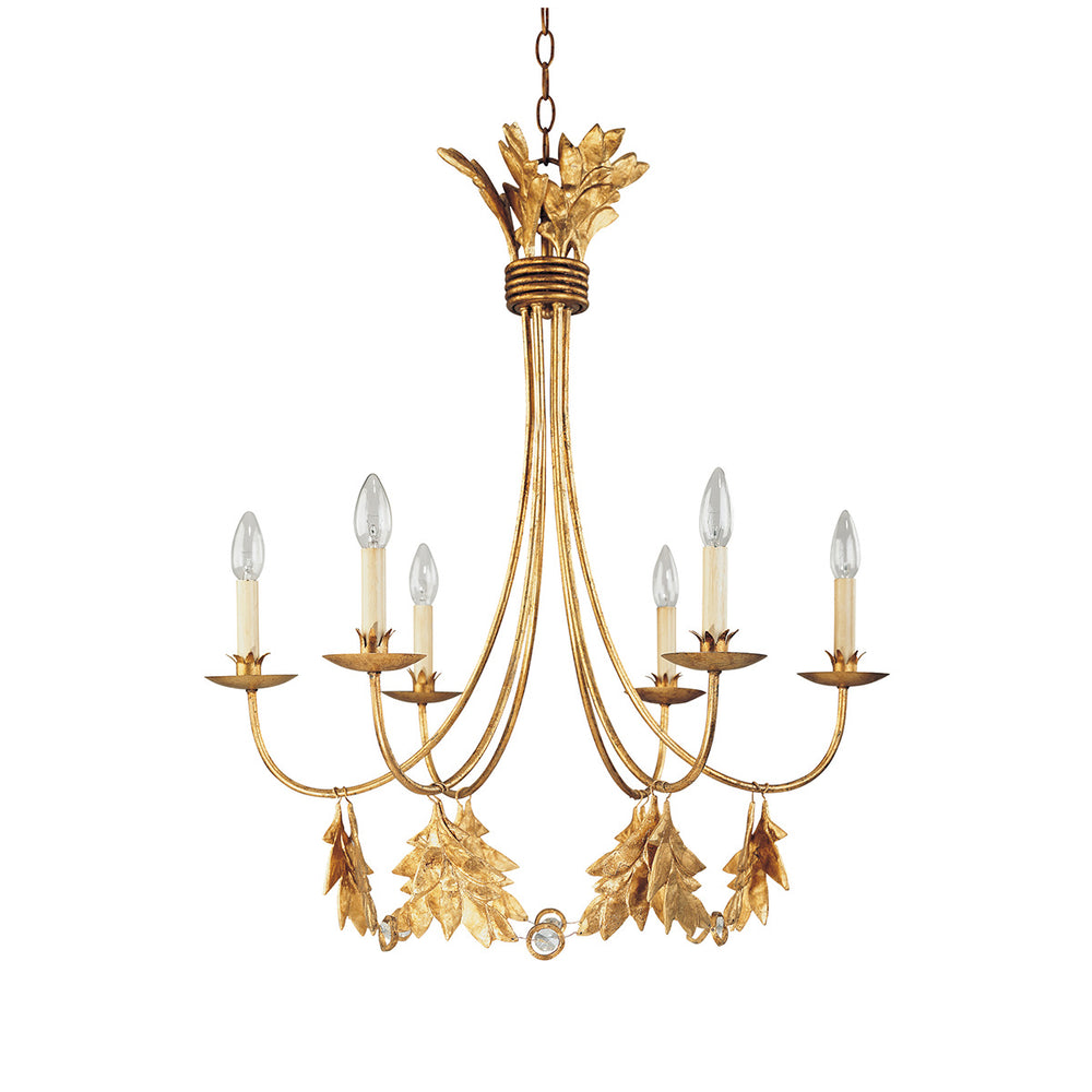 Decolight Cleo 6lt Gold Leaf Ceiling Light - Decolight Ltd
