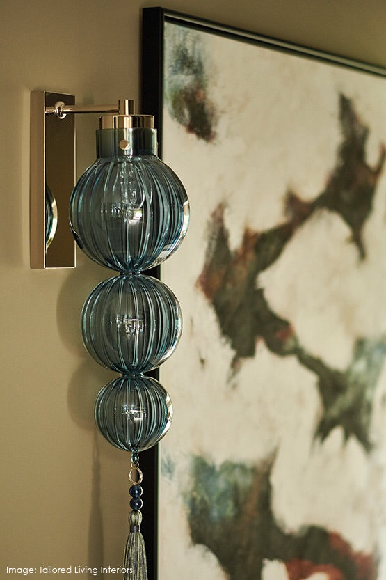 Heathfield Medina 3 Ball Opal Jade Nickel Wall Light - Decolight Ltd