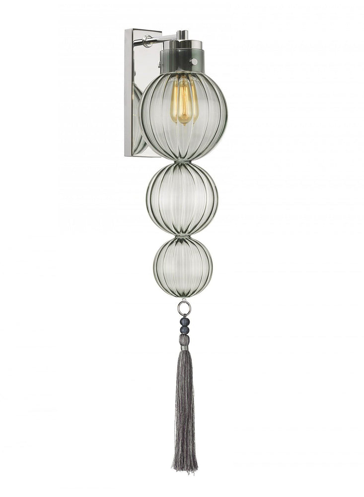 Heathfield Medina 3 Ball Opal Jade Nickel Wall Light