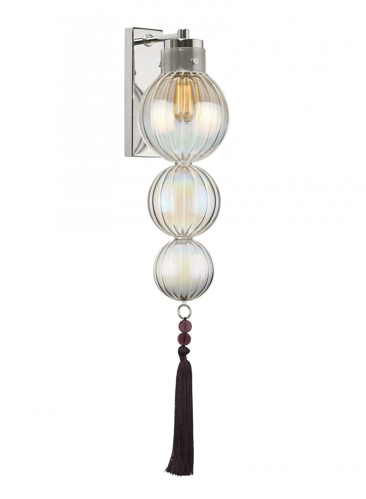 Heathfield Medina 3 Ball Lustre Nickel Wall Light