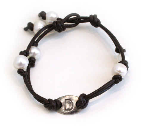Leather and Pearl Initial Bracelet - The Mother's Necklace - 1