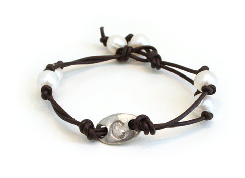 Leather and Pearl Initial Bracelet - The Mother's Necklace - 3