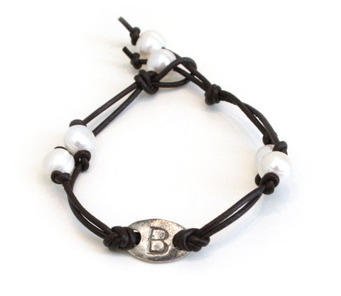 Leather and Pearl Initial Bracelet - The Mother's Necklace - 5
