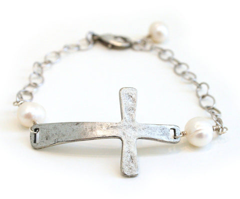 Cross and Pearl Bracelet - The Mother's Necklace - 4