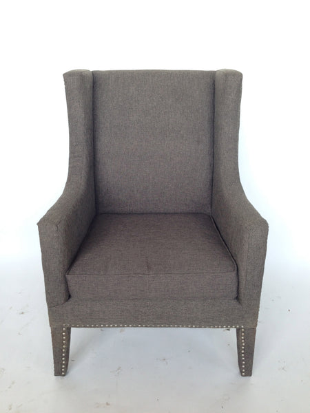 Gray Wingback with Nailhead Trim