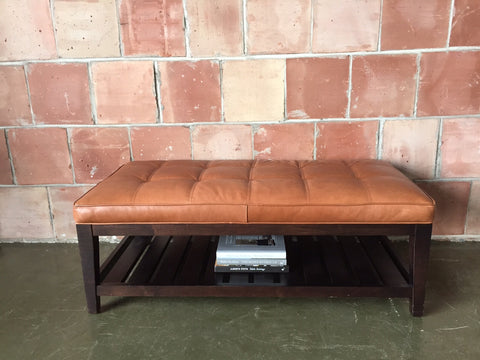 Crate & Barrel Leather Coffee Table