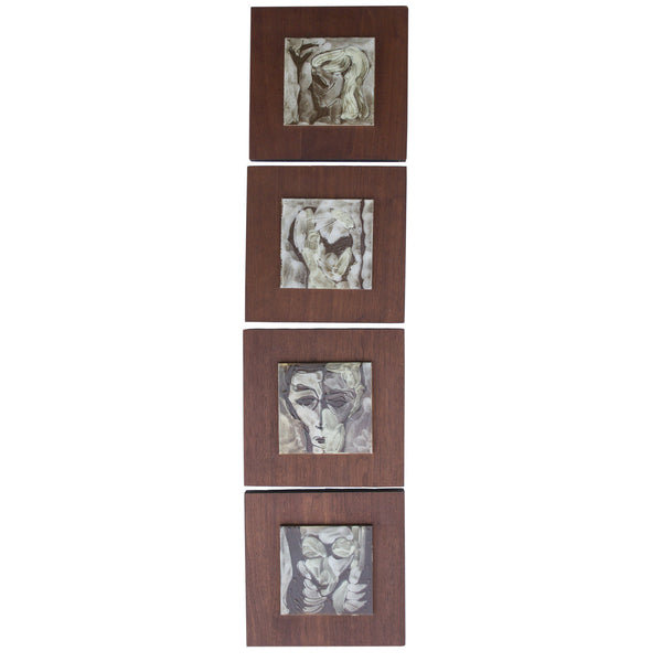 4-Piece Portrait Tiles on Wood