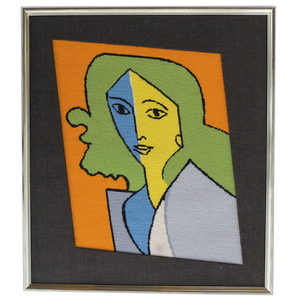 Framed Lady Lichtenstein Needlepoint