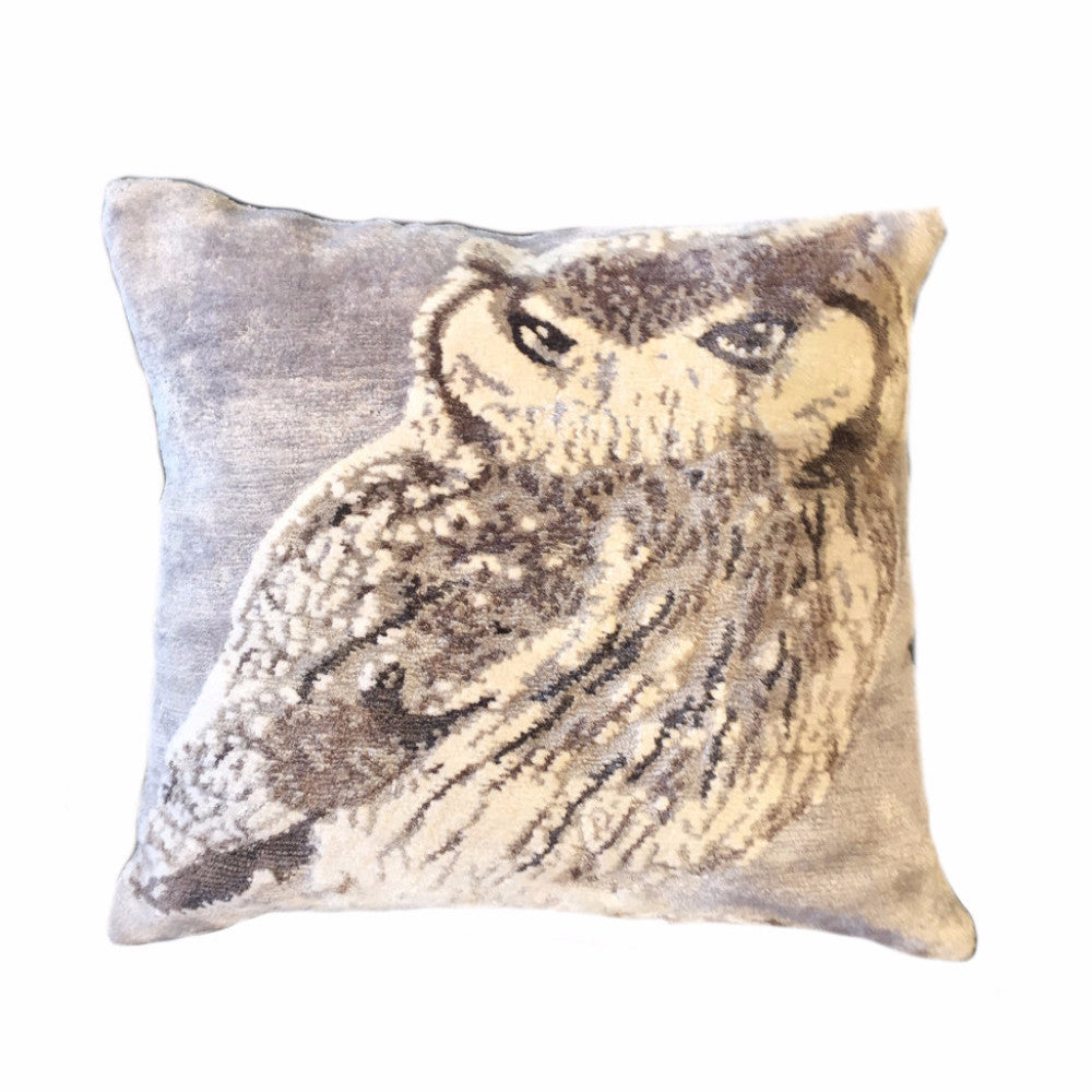Silver Owl Pillow, Right Facing