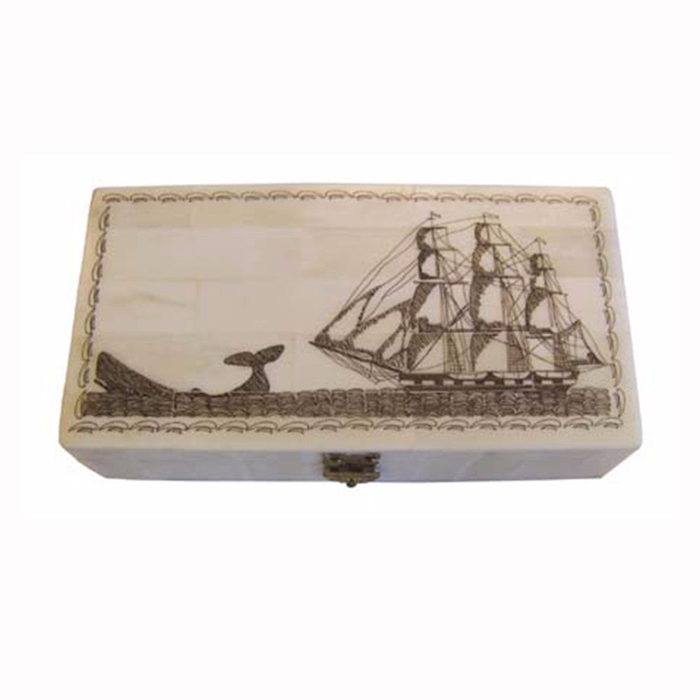 Whale Chase Scrimshaw Box