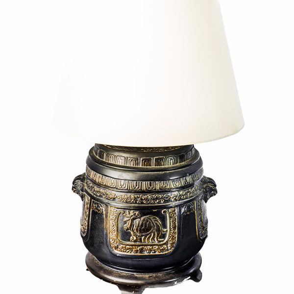 Vintage Carved Bronze Lamps