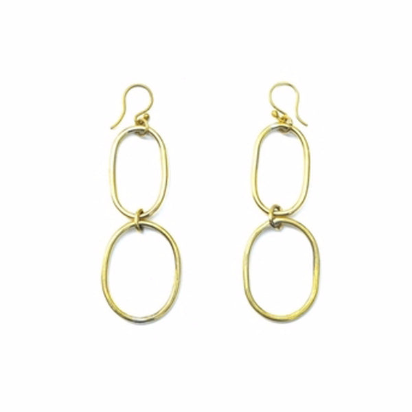 double oval brass earrings