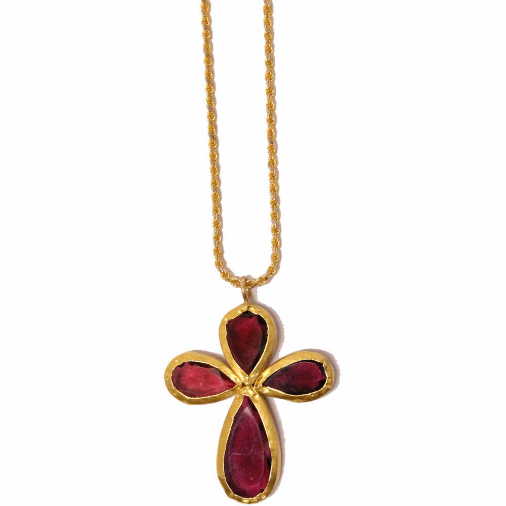 tourmaline gold cross necklace