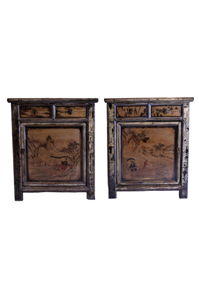 hand painted antique side tables