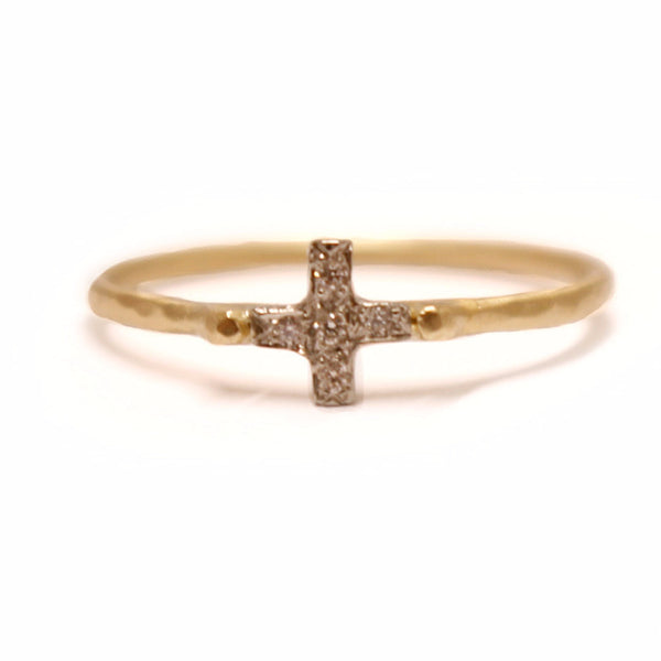 Inlaid 14k Band Cross Ring