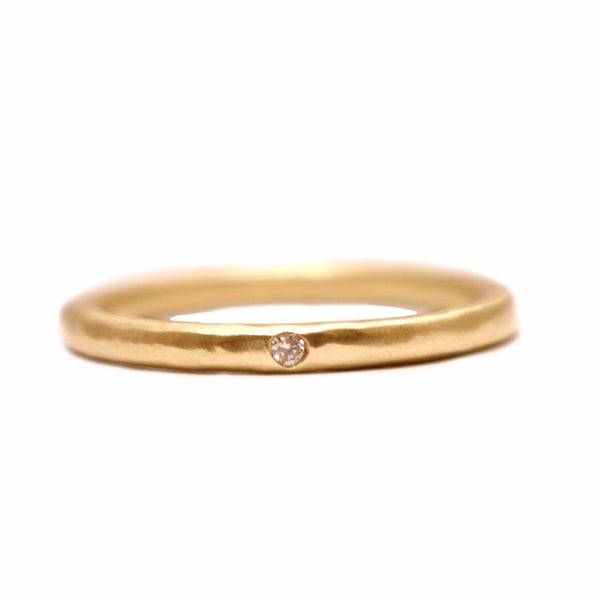Inlaid 14k Band with Pave Diamonds