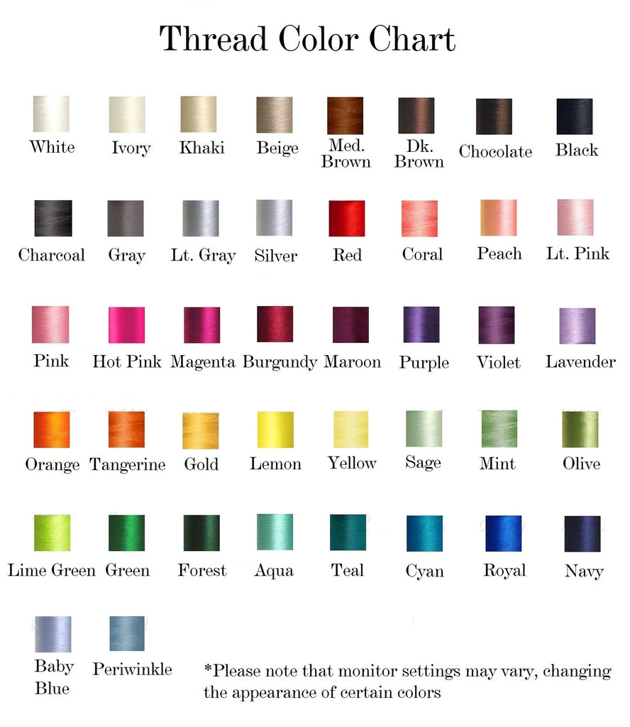 Thread color chart ll monograms quick links embroidery fonts engraving fonts thread colors nvjuhfo Images
