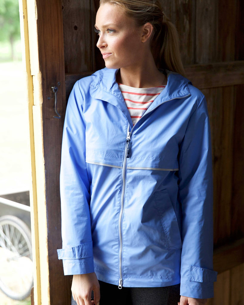 affordable price big selection of 2019 new products for Monogrammed Periwinkle New Englander Rain Jacket