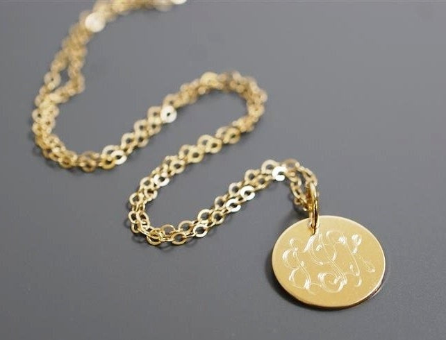 Engraved gold circle disc necklace ll monograms engraved gold circle disc necklace aloadofball Image collections