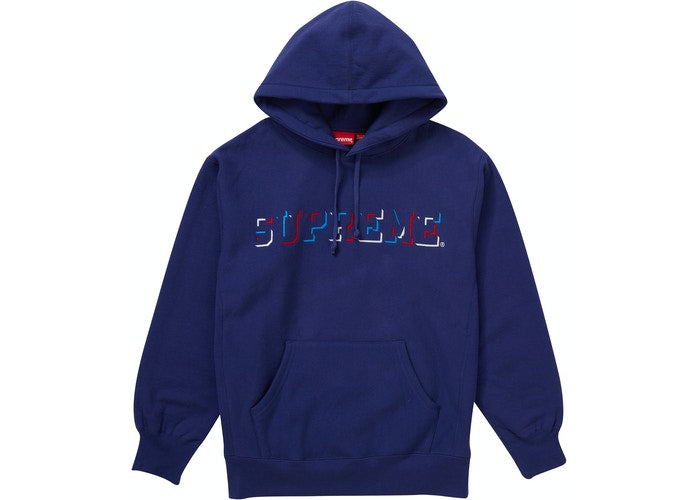 Supreme Drop Shadow Hooded Sweatshirt Washed Navy