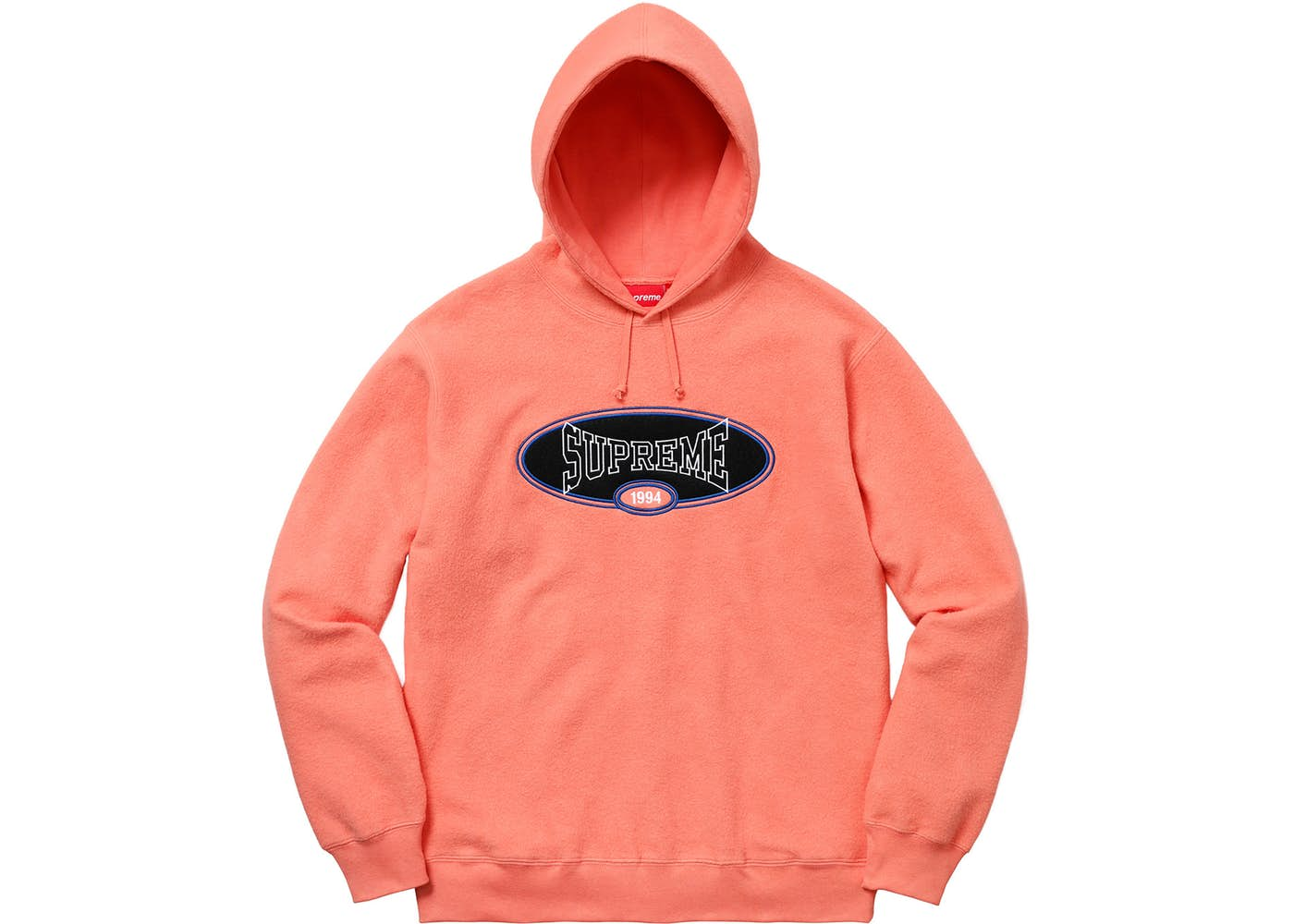 Supreme Reverse Fleece Hooded Sweatshirt (SS18) Coral