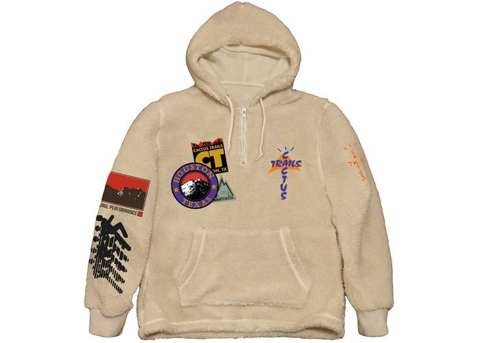 "Travis Scott Cactus Jack ""Trails"" Half Zip Sherpa Hoodie (Cream)"