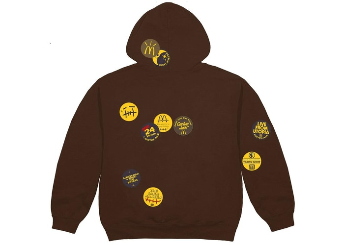 Travis Scott x McDonald's Sticker Bomb Hoodie Brown