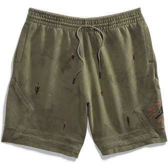 Travis Scott Jordan Washed Suede Shorts Olive