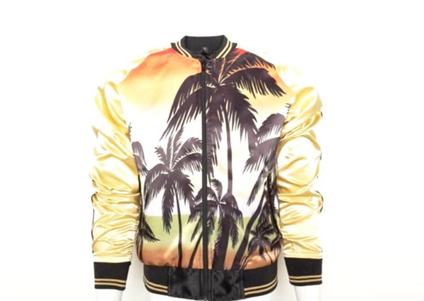 Tan Palm Tree Print Jacket