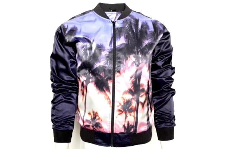 Blue Palm Tree Print Jacket