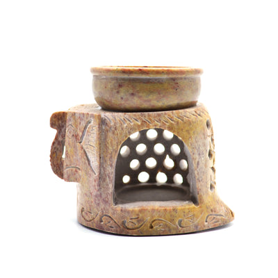 Light Brown Elephant Soapstone Diffuser Lamp