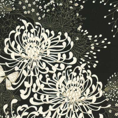 Black white japanese inspired chrysanthemum print