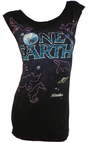 1980s Alaska ONE EARTH Reshaped 2sided Wildlife T-Shirt / Dress