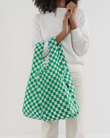 Baggu Standard Reusable Bag - Green Checkerboard