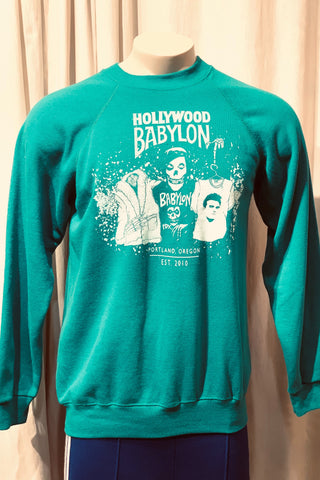 Vintage Green Sweatshirt Screened by Babylon L/XL
