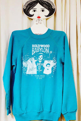 Vintage Turquoise Sweatshirt Screened by Babylon L/XL