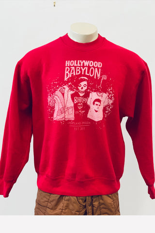 Vintage Red Sweatshirt Screened by Babylon L