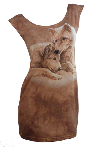 Stunning WOLVES Reshaped Wildlife T-Shirt Mini Dress