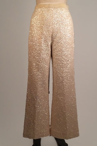 Vintage Ivory Sequined Wool Bell Bottom Pants sz. M