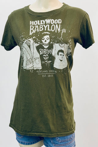 Vintage Olive Thin Tee Screened by Babylon S/M
