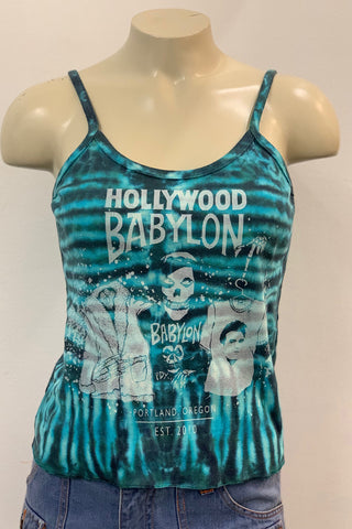 Vintage Turquoise Tie Dye Tank Screened by Babylon S/M