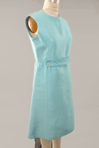 Vintage 60s Aqua Silk Cocktail Dress